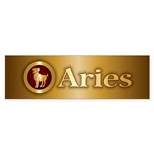 Aries Gold Bumper Bumper Sticker