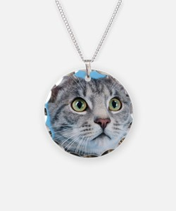 Beautiful Green Eyed Kitty Cat Necklace