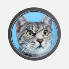 Beautiful Green Eyed Kitty Cat Wall Clock