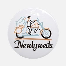 Newlyweds on Motorbike Ornament (Round)