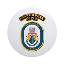 USS Cowpens (CG-63)-With Text Ornament (Round)