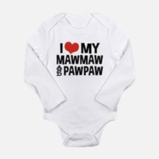 I Love My MawMaw and P Long Sleeve Infant Bodysuit