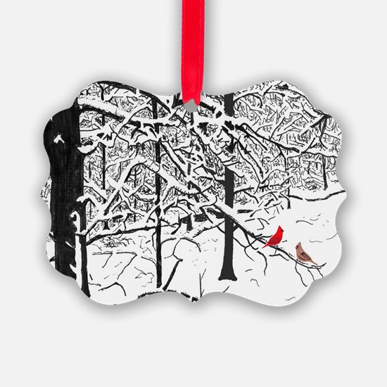 Snow Scene and Cardinals Ornament