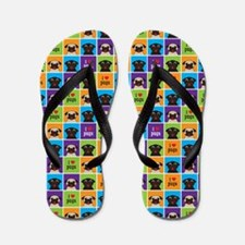 I Love Pugs Color Squares Portrait Flip Flops