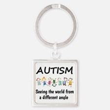 Autism...seeing the world from a d Square Keychain
