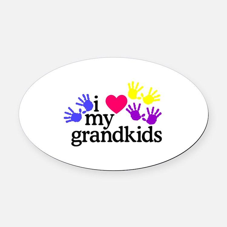 I Love My Grandkids/Hands Oval Car Magnet