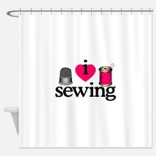 I Love Sewing/Thimble & Spool Shower Curtain