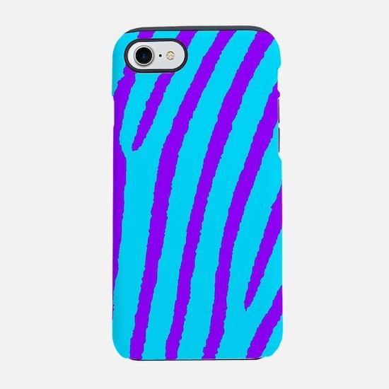 Zebra Print (Blue & Purple) iPhone 7 Tough Cas