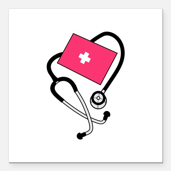 """Blood Pressure Cuff Square Car Magnet 3"""" x 3"""""""