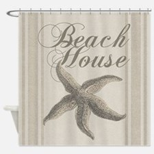 Beach House Starfish Sandy Coastal Decor Shower Cu