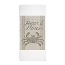 Beach House Crab Sandy Coastal Decor Beach Towel