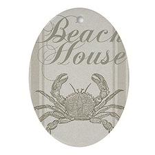 Beach House Crab Sandy Coastal Decor Ornament (Ova