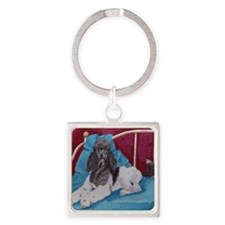 Cute Dog poodle Square Keychain