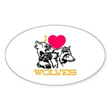 I Love Wolves Decal