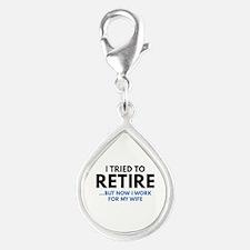 I Tried To Retire Silver Teardrop Charm