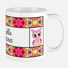 Personalized Name Owl Floral Pattern Mug