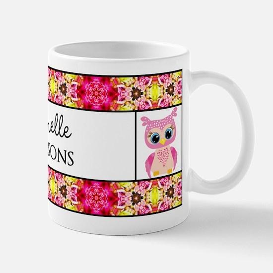 Personalized Name Owl Floral Pattern Mug