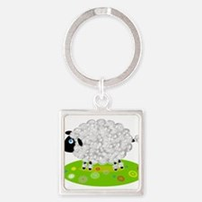 Wooly Lamb in Flower Field Keychains