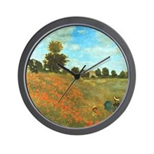 Poppies by Monet Wall Clock