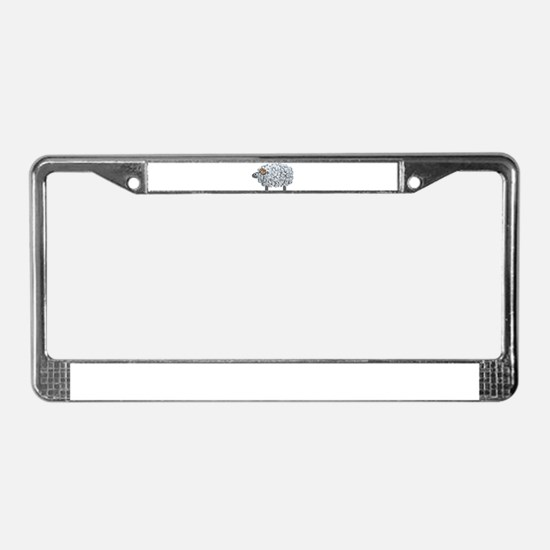 Fluffy Sheep License Plate Frame