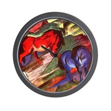 Horses by Franz Marc Wall Clock