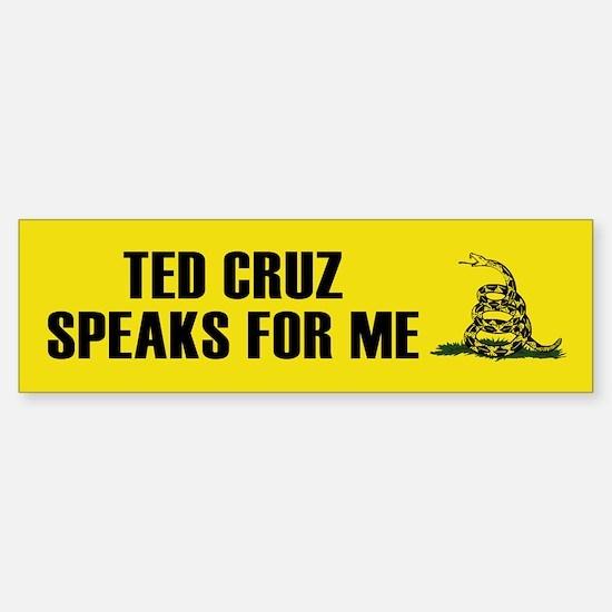 Ted Cruz Speaks For Me Bumper Bumper Bumper Sticker