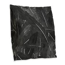 Black Crow Feathers Burlap Throw Pillow