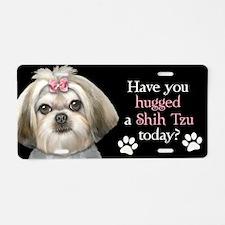 Shih Tzu Hug Aluminum License Plate