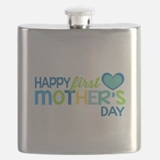 Happy First Mother's Day Boy Flask