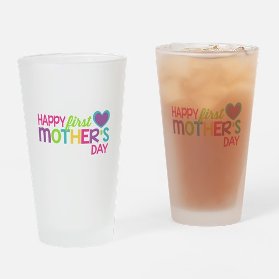 Happy First Mother's Day Girls Drinking Glass