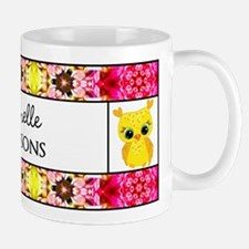 Personalized Yellow Dotted Owl Floral P Mug
