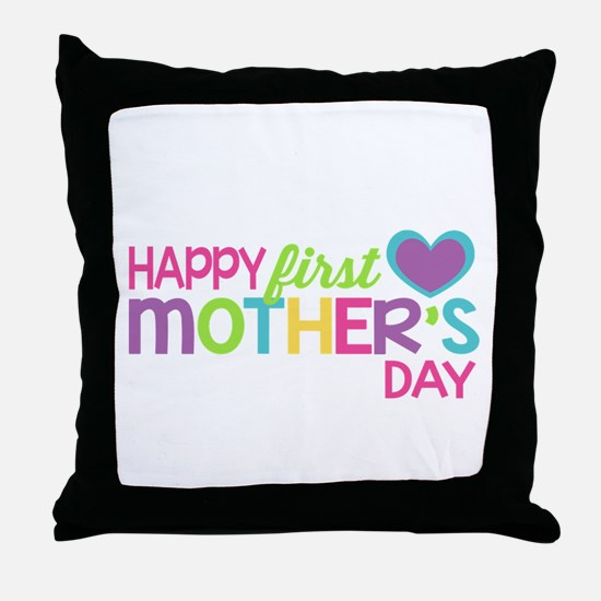 Happy First Mother's Day Girls Throw Pillow