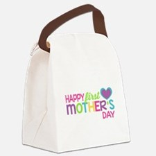 Happy First Mother's Day Girls Canvas Lunch Bag
