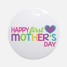 Happy First Mother's Day Girls Ornament (Round)