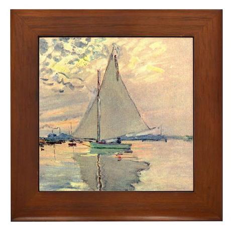 Sailing Ship by Monet Framed Tile