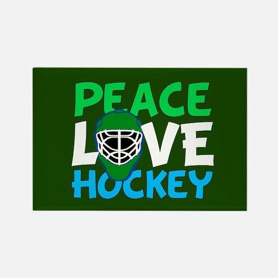 Green Hockey Rectangle Magnet