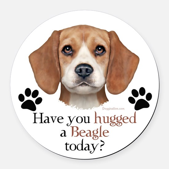 Beagle Hug Round Car Magnet