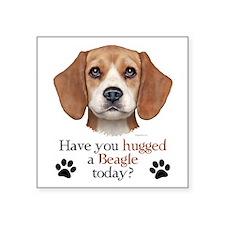 """Beagle Hug Square Sticker 3"""" x 3"""""""