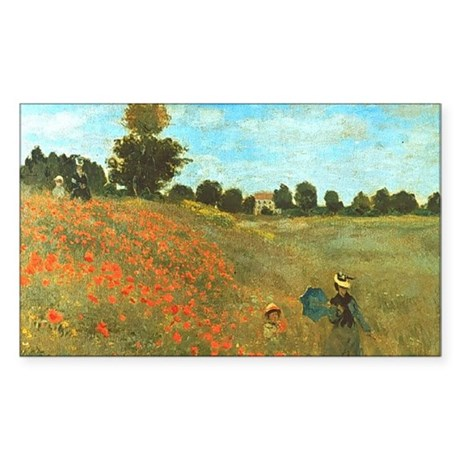 Poppies by Monet Rectangle Sticker