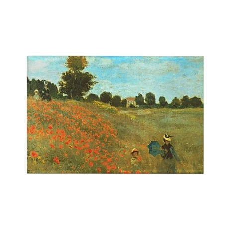 Poppies by Monet Rectangle Magnet