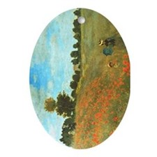 Poppies by Monet Oval Ornament