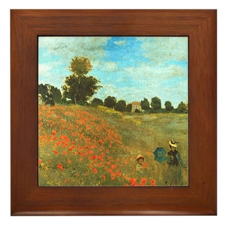 Poppies by Monet Framed Tile