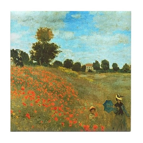 Poppies by Monet Tile Coaster