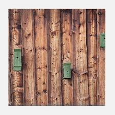 Birdhouses on a Log Wall Tile Coaster