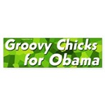 Groovy Chicks for Obama bumper sticker