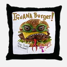 Iguana burger Throw Pillow