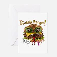Iguana burger Greeting Cards