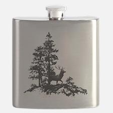 Black White Stag Deer Animal Nature Flask