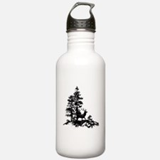 Black White Stag Deer Animal Nature Water Bottle