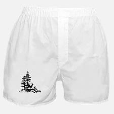 Black White Stag Deer Animal Nature Boxer Shorts
